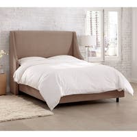 Skyline Furniture Velvet Cocoa Swoop Arm Wingback Bed