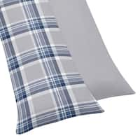 Sweet Jojo Designs Navy Blue and Gray Plaid Body Pillow Case