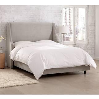 Skyline Furniture Velvet Light Grey Swoop Arm Wingback Bed|https://ak1.ostkcdn.com/images/products/12754516/P19530700.jpg?impolicy=medium