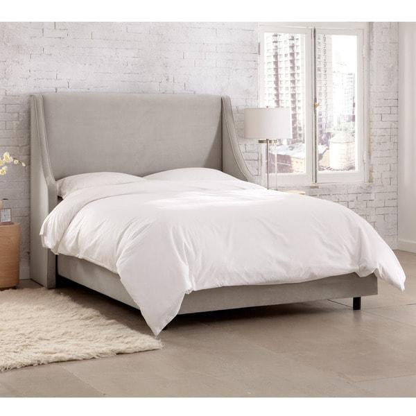 skyline furniture wingback bed | Shop Skyline Furniture Velvet Light Grey Swoop Arm ...