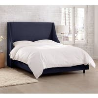 Skyline Furniture Velvet Navy Swoop Arm Wingback Bed