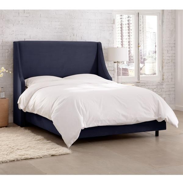 Skyline Furniture Velvet Navy Swoop Arm Wingback Bed