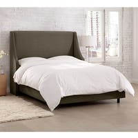 Skyline Furniture Velvet Pewter Swoop Arm Wingback Bed