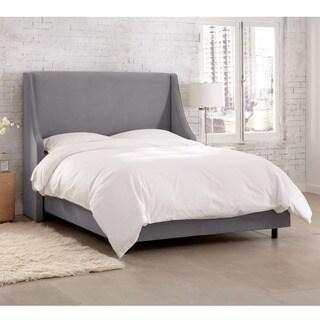Skyline Furniture Velvet Steel Grey Swoop Arm Wingback Bed