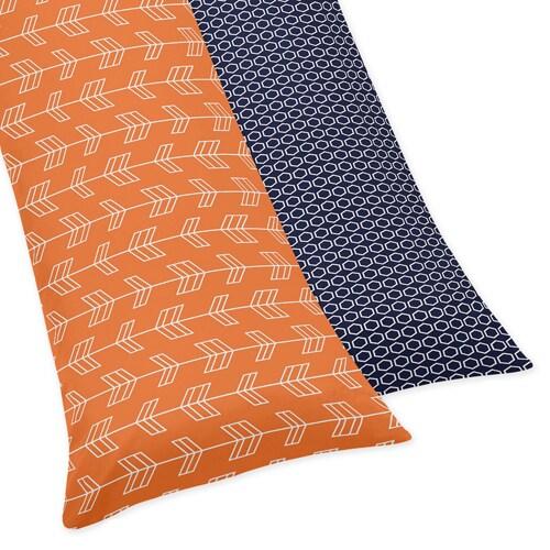 Sweet Jojo Designs Orange and Navy Blue Arrow Body Pillow Case