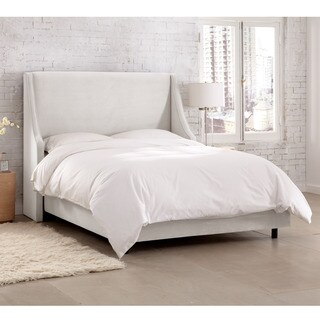 Velvet White Swoop Arm Wingback Bed- Skyline Furniture