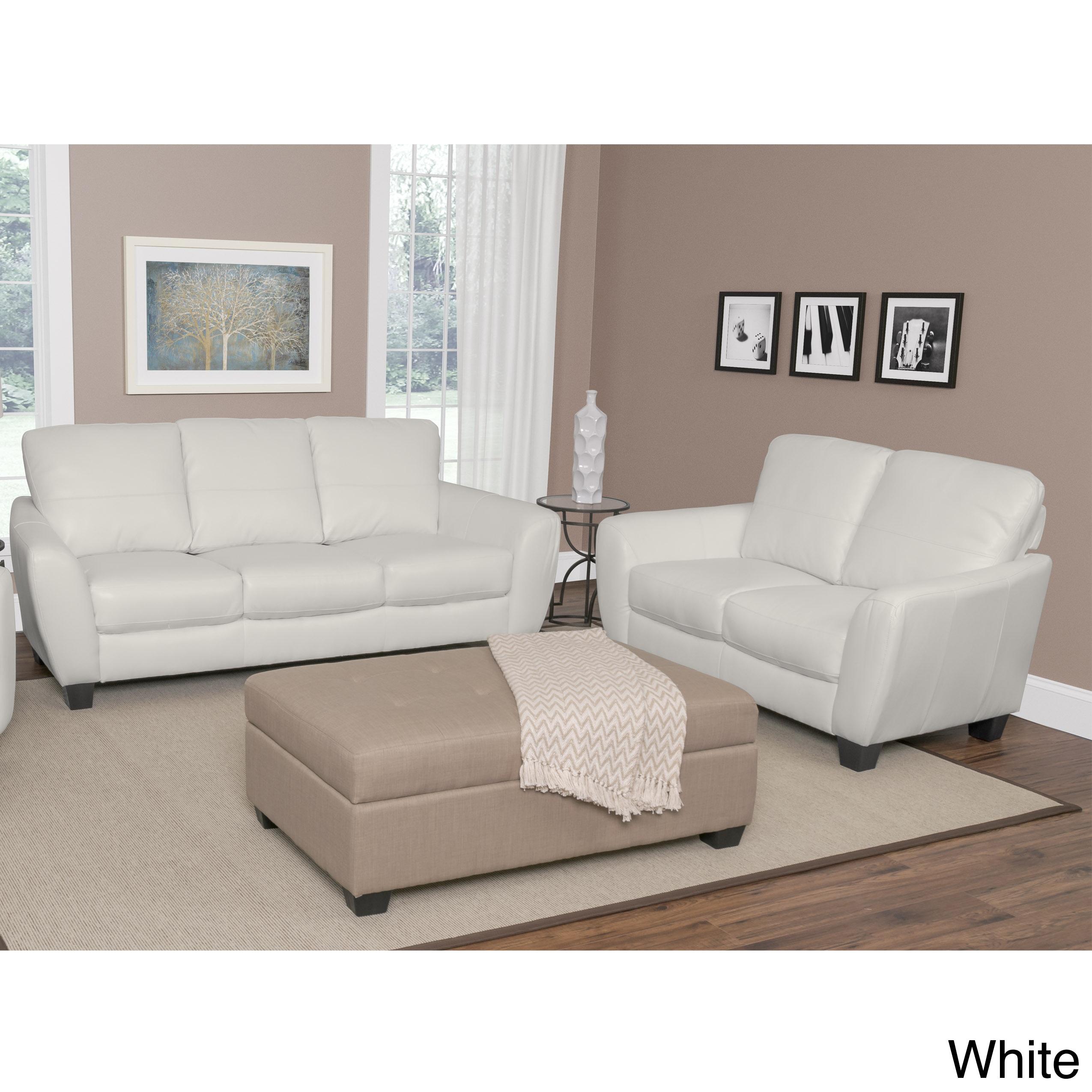 CorLiving Jazz 2-piece Bonded Leather Sofa Set (White)