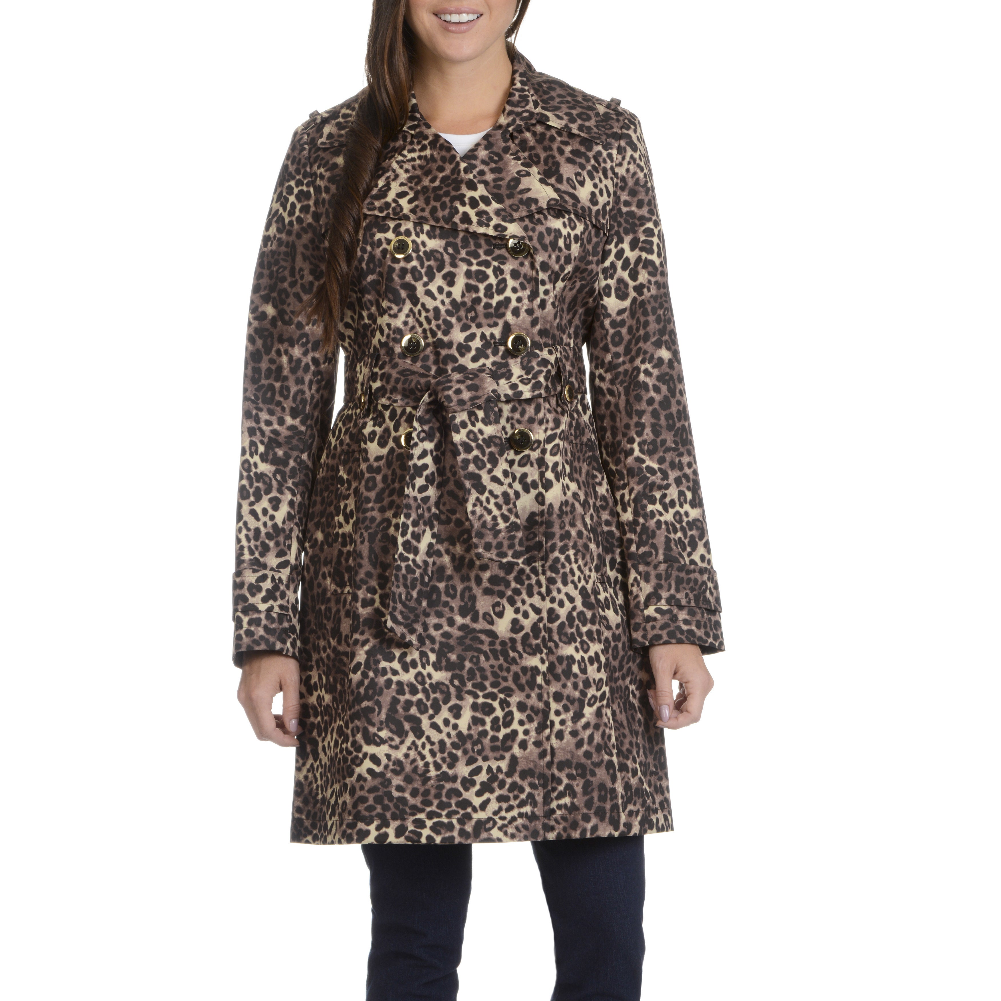 Via Spiga Women's Leopard Double Breasted Trench Coat (Le...