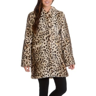 Via Spiga Women's Faux Cheetah Coat