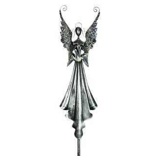 Silver Angel Holding Bird Stake