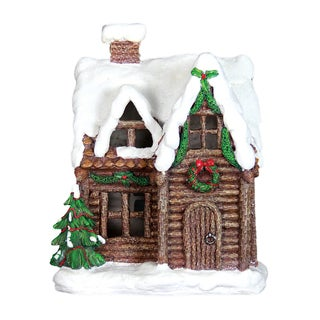 Exhart Multicolor Resin 11.5-inch LED Holiday Cottage With Timer