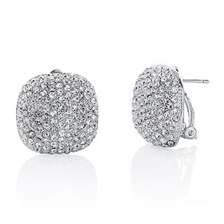 Women's Gold Pave Crystal Cushion-shape Button Earrings