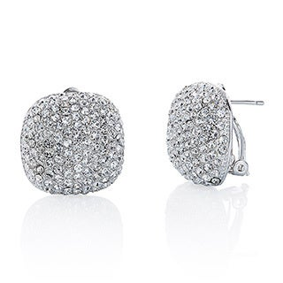 Women's Gold Pave Crystal Cushion-shape Button Earrings - White