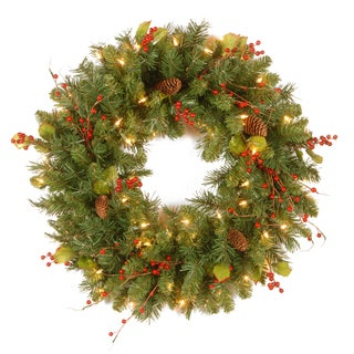 Classical Collection 24-inch Wreath with Clear Lights
