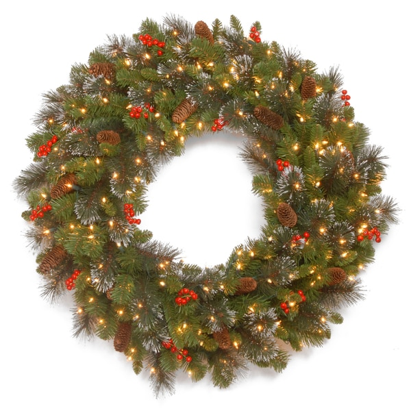crestwood spruce 30 inch wreath with battery operated warm white led lights