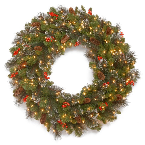 """30in. Battery Operated Spruce Wreath - 30"""". Opens flyout."""