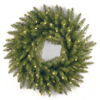 Dunhill Fir 24-inch Wreath With Clear Lights