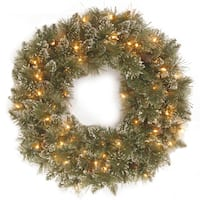 Faux Bristle Pine 30-inch Glittery Wreath With Clear Lights