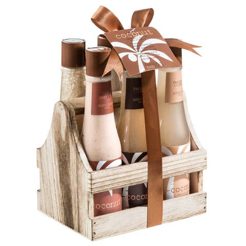 Freida and Joe Tropical Milky Coconut 6-piece Gift Set in Wood Caddy