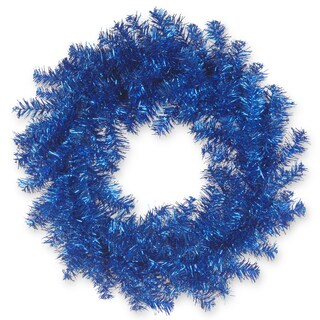 Blue Tinsel 24-inch Wreath