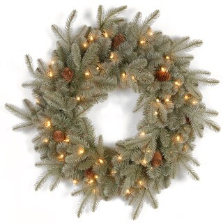 Faux Frosted Arctic Spruce 24-inch Wreath With Clear Lights