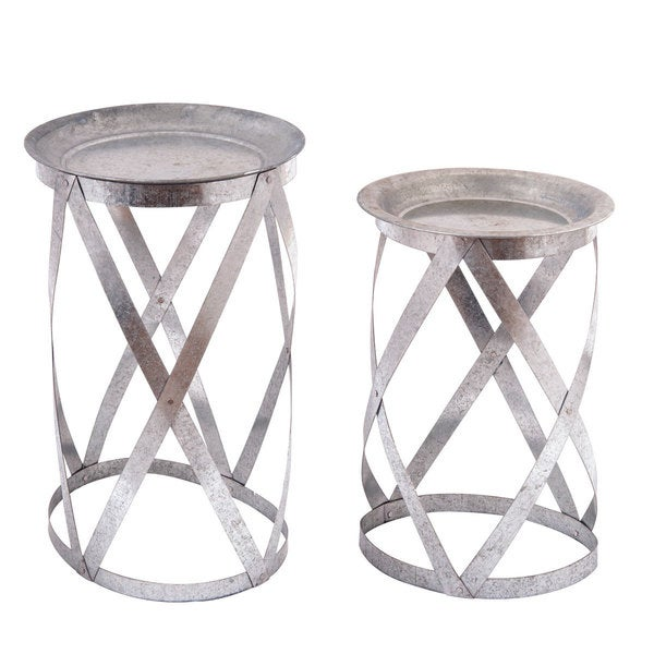 Galvanized Metal Round Nested Tables Set Of 2 Free