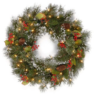 24in. Battery Operated LED Wintry Pine Wreath - 24""