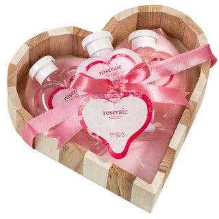 Pink Rose Heart-shaped Bath and Body 3-piece Gift Basket