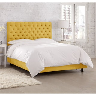 skyline furniture linen french yellow tufted bed - Yellow Bed Frame