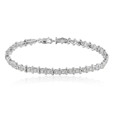 "10k Gold 1/2ct TDW Diamond Tennis Bracelet - 9'6"" x 13'6"" - 9'6"" x 13'6"""