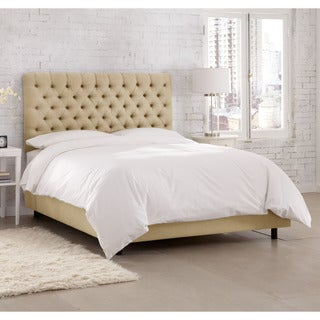 Skyline Furniture Linen Sandstone Tufted Bed