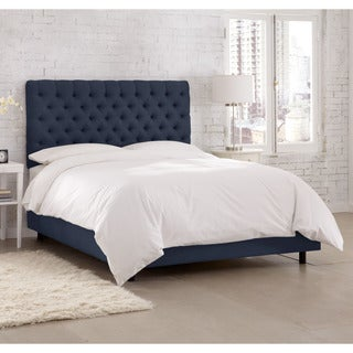 Skyline Furniture Linen Navy Tufted Bed