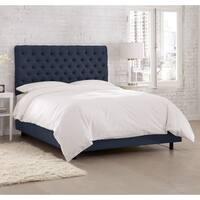 Skyline Furniture Linen Navy Tufted Bed