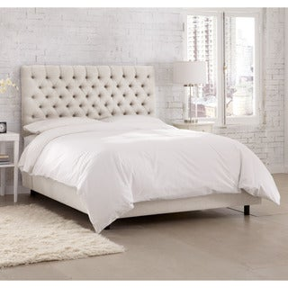 Skyline Furniture Linen Talc Tufted Bed