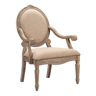 Madison Park Cole Beige Exposed Wood Arm Chair