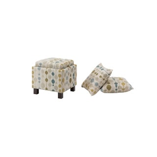 Madison Park Allison Sand Square Storage Ottoman with Pillows