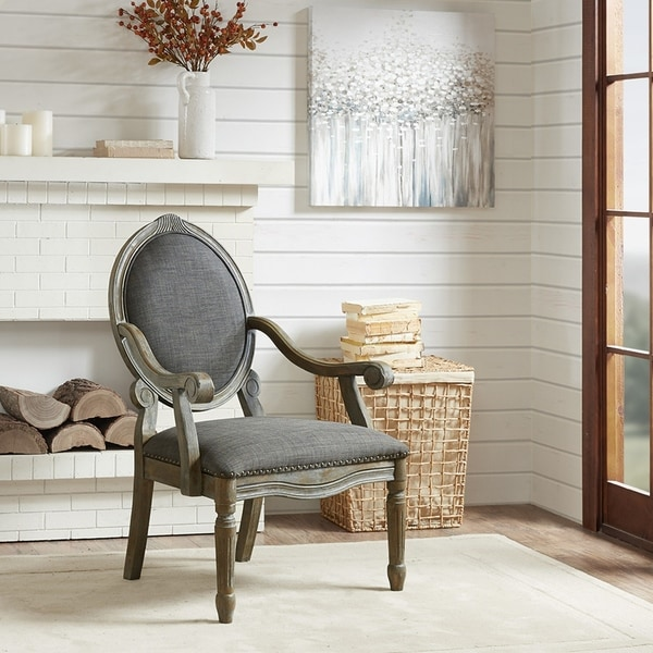 Madison Park Cole Grey Exposed Wood Arm Chair. Opens flyout.