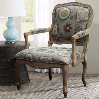 Madison Park Charlotte Blue Camel Back Exposed Wood Armchair