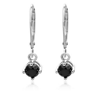14k White Gold 1ct TDW Black Diamond Lever Back Dangle Earrings
