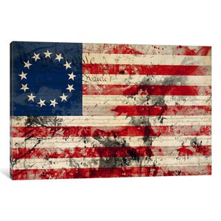 """iCanvas USA """"Betsy Ross"""" Flag with Constitution Background I by iCanvas Canvas Print"""