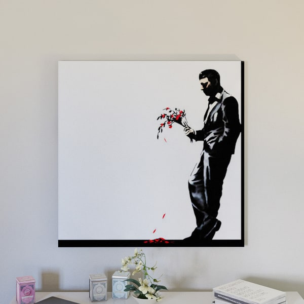 Carbon Loft Waiting in Vain at the Door of the Club #2 by Banksy Canvas Print