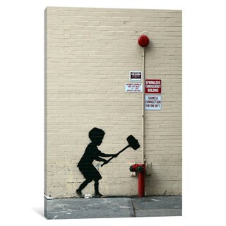 iCanvas Hammer Boy by Banksy Canvas Print