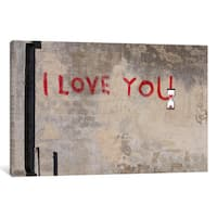 iCanvas I Love You by Banksy Canvas Print