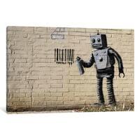 iCanvas Coney Island Barcode Robot by Banksy Canvas Print