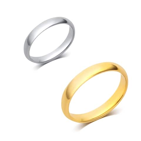 Divina 10KT White/Yellow Gold 3-millimeter Plain Wedding Band and Box
