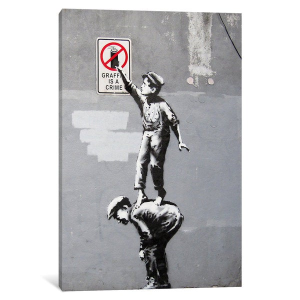 iCanvas The Street is in Play (Full) by Banksy Canvas Print