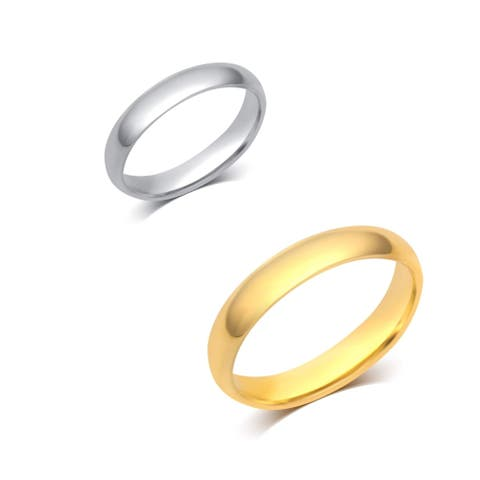 Divina 10KT White or Yellow Gold 4-millimeter Plain Wedding Band