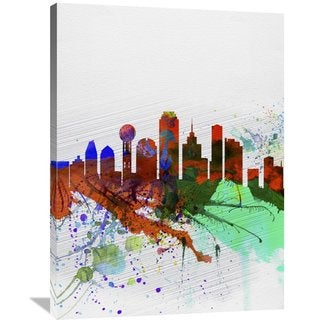 Naxart Studio 'Dallas Watercolor Skyline' Stretched Canvas Wall Art