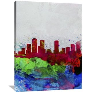 Naxart Studio 'Denver Watercolor Skyline' Stretched Canvas Wall Art