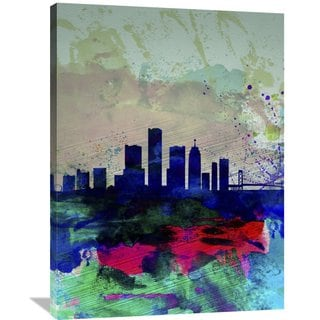 Naxart Studio 'Detroit Watercolor Skyline' Stretched Canvas Wall Art
